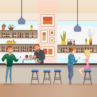Restaurant-bar oder kneipe mit besucher-flachem vektor