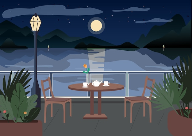 Restaurant bei nacht illustration