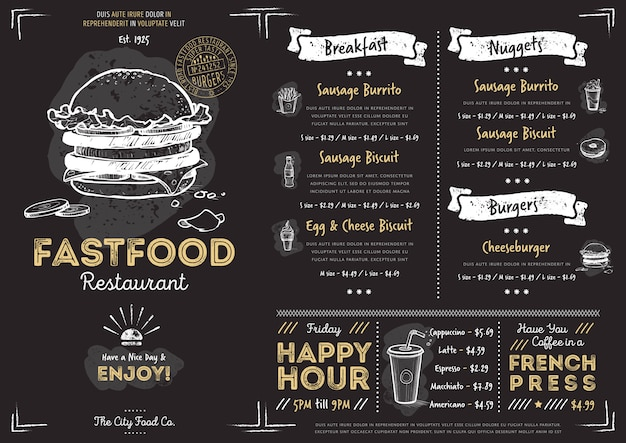 Restaurant café fast-food-menüvorlage