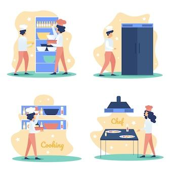 Restaurant-chef cocking auf küchen-ebenen-satz