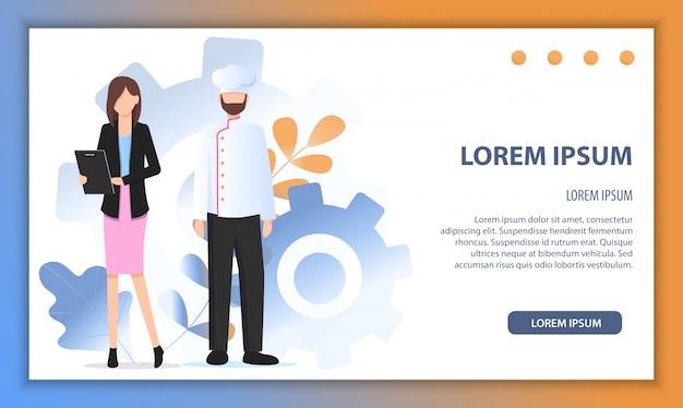 Restaurant-chef-manager-charakter-partnerschaft