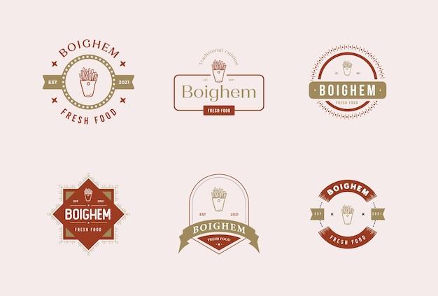 Restaurant-essen-abzeichen-premium-vektor-logo-set