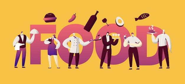 Restaurant essen kellnerin charakter typografie banner.