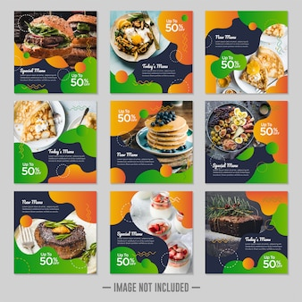 Restaurant essen social media banner beitrag entwurfsvorlage