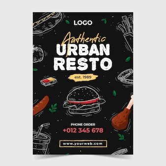 Restaurant flyer vorlage illustriert
