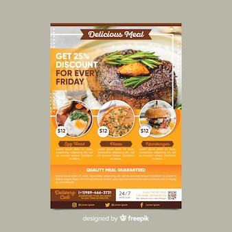 Restaurant flyer vorlage mit foto