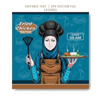 Restaurant fried chicken post-vorlage mit illustration eines kellners