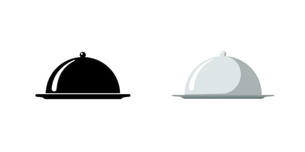 Restaurant-glocke. cafe essen serviertablett icon-set. abgedecktes tellersymbol schwarz und silber auf weißem hintergrund. schilder zum servieren von essensplatten. vektor isolierte eps-illustration