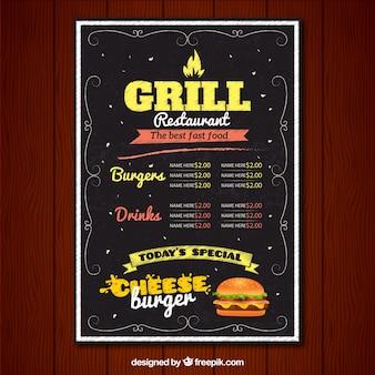 Restaurant grill-menü im vintage-stil