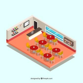 Restaurant innenraum mit roten tischen in isometrischer perspektive