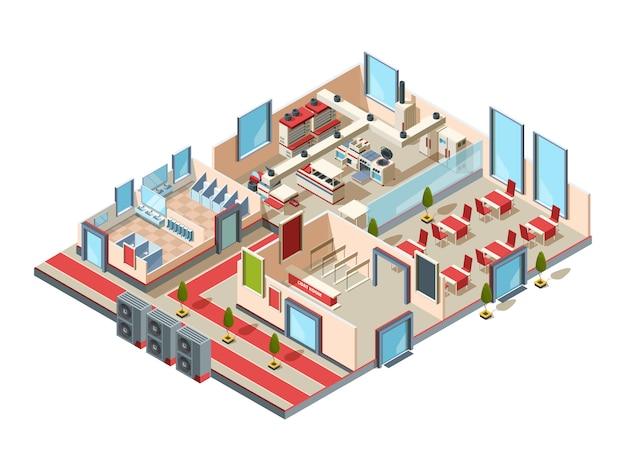 Restaurant interieur. cafe küche halle toiletten und raum mit möbeln und geräten für die herstellung isometrisches design von lebensmitteln