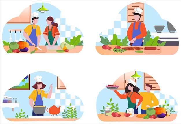 Restaurant koch kochset. sammlung von personen in der schürze, die leckeres gericht macht. professioneller arbeiter in der küche. essensshow. illustration