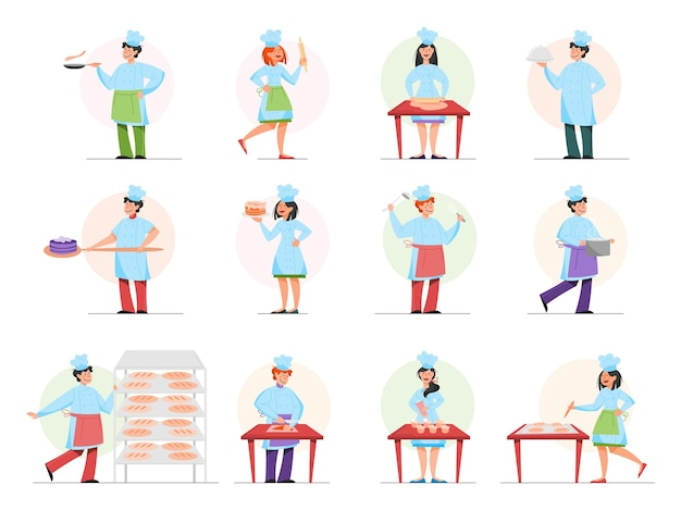 Restaurant koch kochset. sammlung von personen in der schürze, die leckeres gericht macht. professioneller arbeiter in der küche. illustration im cartoon-stil