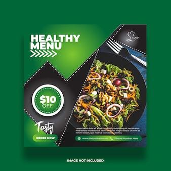 Restaurant leckeres essen gesundes menü social media post abstrakte premium-vorlage