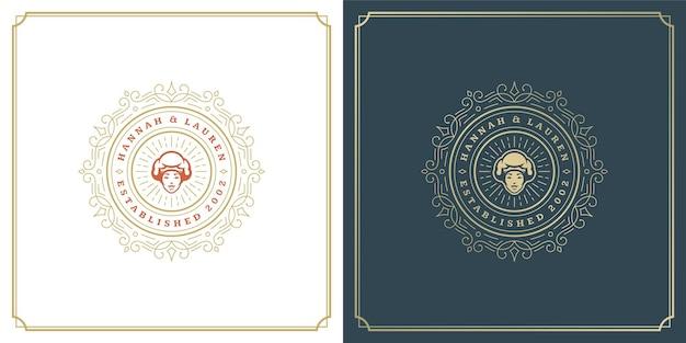 Restaurant-logo-design-vektor-illustration koch frau gesicht in hut silhouette