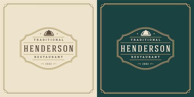 Restaurant-logo-design-vektor-illustration-schalen-tablett-silhouette