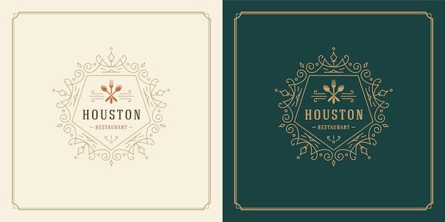 Restaurant logo illustration küchenwerkzeuge silhouetten, gut für restaurantmenü und café abzeichen.