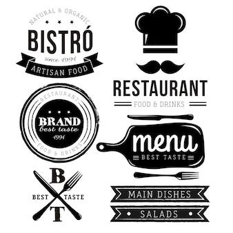 Restaurant-logo-kollektion Kostenlosen Vektoren