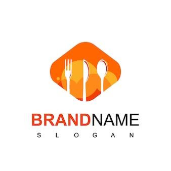 Restaurant logo vector mit löffel, gabel und messer-schattenbild-symbol