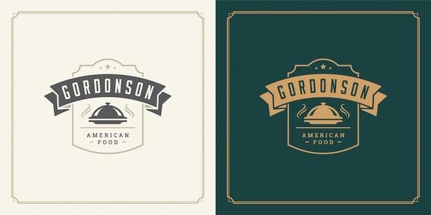 Restaurant logo vorlage illustration tray cloche symbol und dekoration gut für menü und café zeichen.