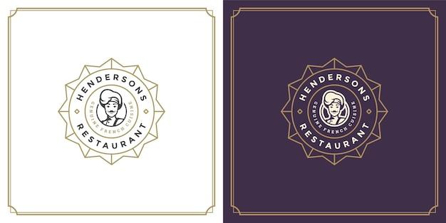 Restaurant-logo-vorlage vektor-illustration koch mann gesicht in hut silhouette