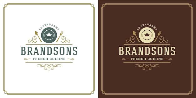 Restaurant logo vorlage vektor illustration teller silhouette