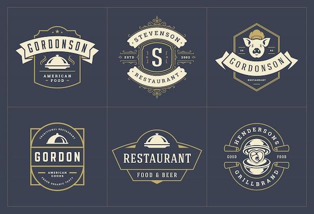 Restaurant logos vorlagen set illustration gut für menüetiketten und cafe abzeichen.