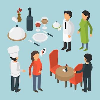 Restaurant menschen isometrisch. bilder des lebensstilkellnerlebensmittels 3d des cafépersonenereignisluxus