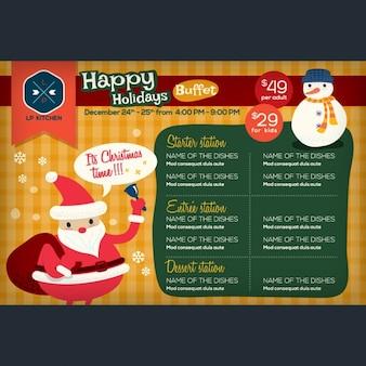 Restaurant menü-platzdeckchen mit urlaub weihnachtsthema