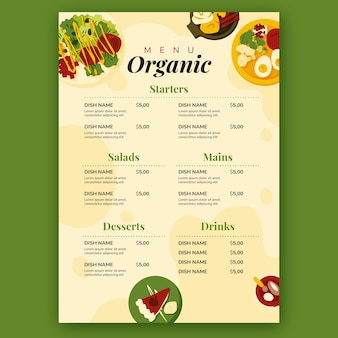 Restaurant-menüvorlage mit bio-lebensmitteln