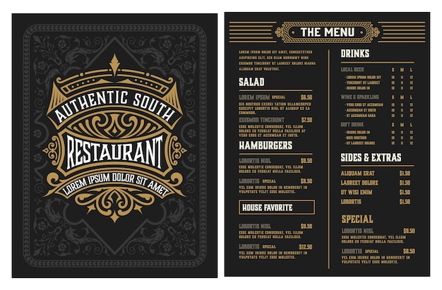 Restaurant menüvorlage. vintage-stil. geschichtet