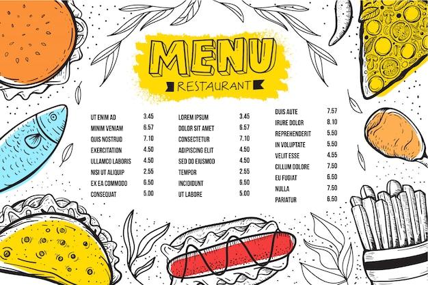 Restaurant menüvorlage