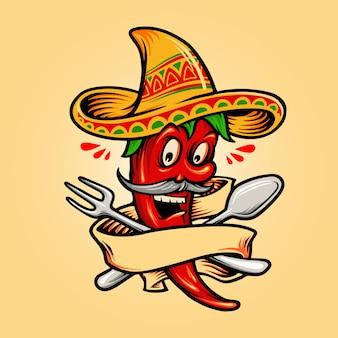 Restaurant mexikanisches red hot chili pepper maskottchen