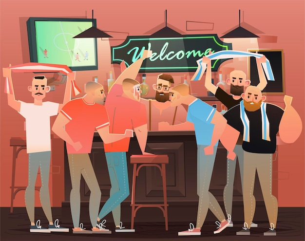 Restaurant mit sportfans illustration
