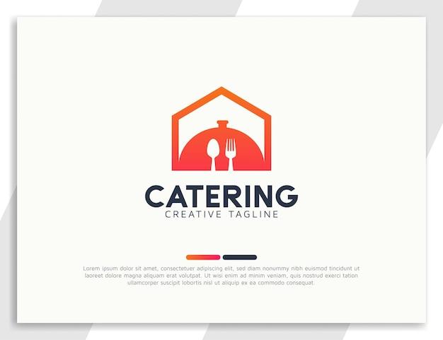 Restaurant- oder catering-home-food-logo mit gabel und löffel