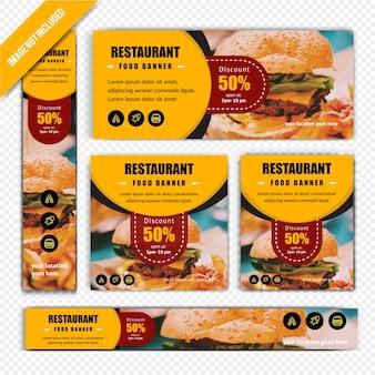 Restaurant rabatt web banner set
