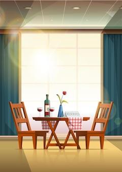 Restaurant romantischer tisch mit wein und reserviertem schild Premium Vektoren