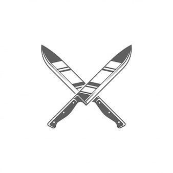 Restaurant-schattenbild-vektor illustration mit zwei metzgermessern lokalisiert auf weißem hintergrund.