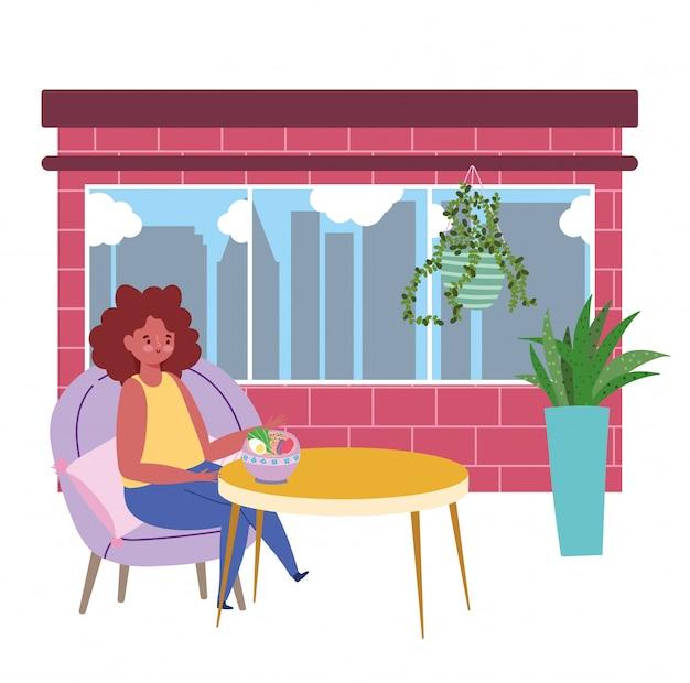 Restaurant soziale distanzierung, frau essen suppe halten einen sicheren abstand, prävention coronavirus