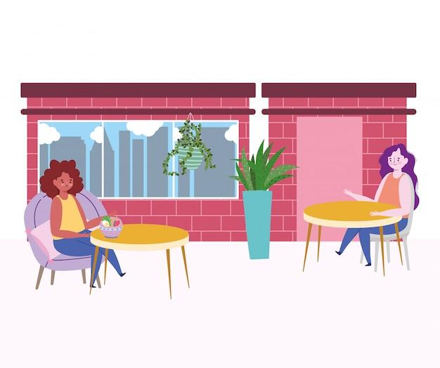 Restaurant soziale distanzierung, frauen halten abstand voneinander verhindern coronavirus