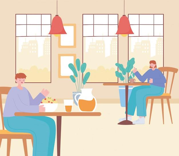 Restaurant soziale distanzierung, getrennte kunden während des mittagessens, prävention von coronavirus-infektionen