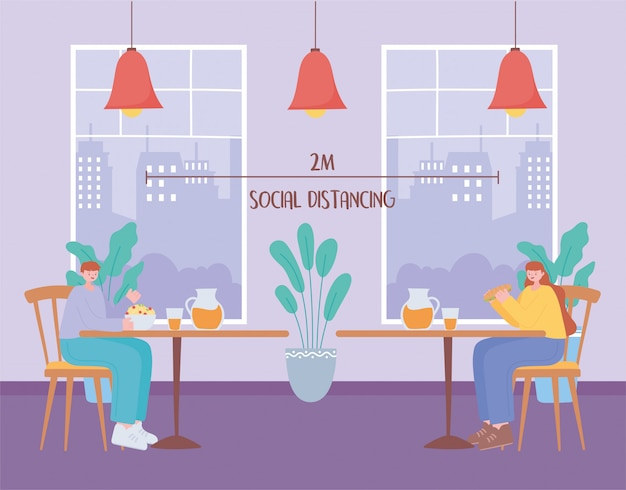 Restaurant soziale distanzierung, mann und frau mittagessen in separaten tisch, prävention von coronavirus-infektion