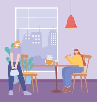 Restaurant soziale distanzierung, menschen essen und trinken halten einen sicheren abstand, pandemie, prävention von coronavirus-infektionen
