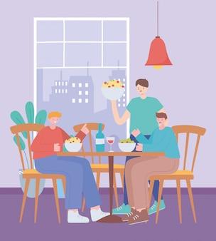 Restaurant soziale distanzierung, menschen sitzen in der ferne lebensmittelgeschäft, pandemie, prävention von coronavirus-infektion