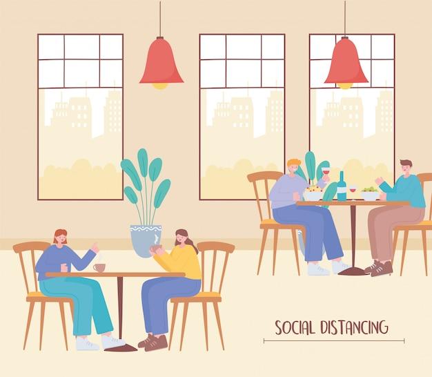 Restaurant soziale distanzierung, menschen sitzen in der ferne lebensmittelgeschäft, prävention von coronavirus-infektion