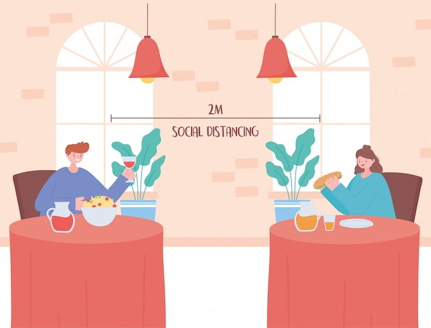Restaurant soziale distanzierung, neuer normaler lebensstil in der essenszeit, prävention von coronavirus-infektionen
