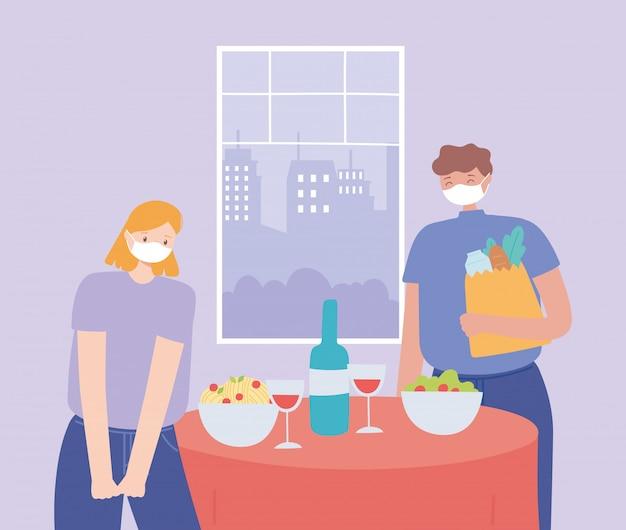 Restaurant soziale distanzierung, paar essen zusammen zu abend, pandemie, prävention von coronavirus-infektion