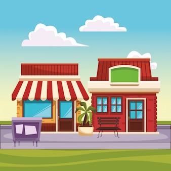 Restaurant straßenlandschaft