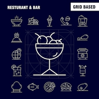 Restaurant und bar line icon für web