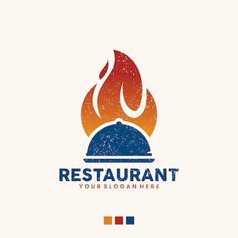 Restaurant-vorlage, flamme, logo-design-inspiration
